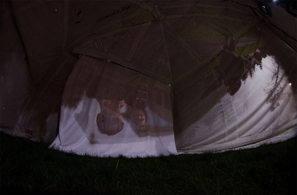 photograph of the interior space of a portable camera obscura artwork at Ideasfest UVic
