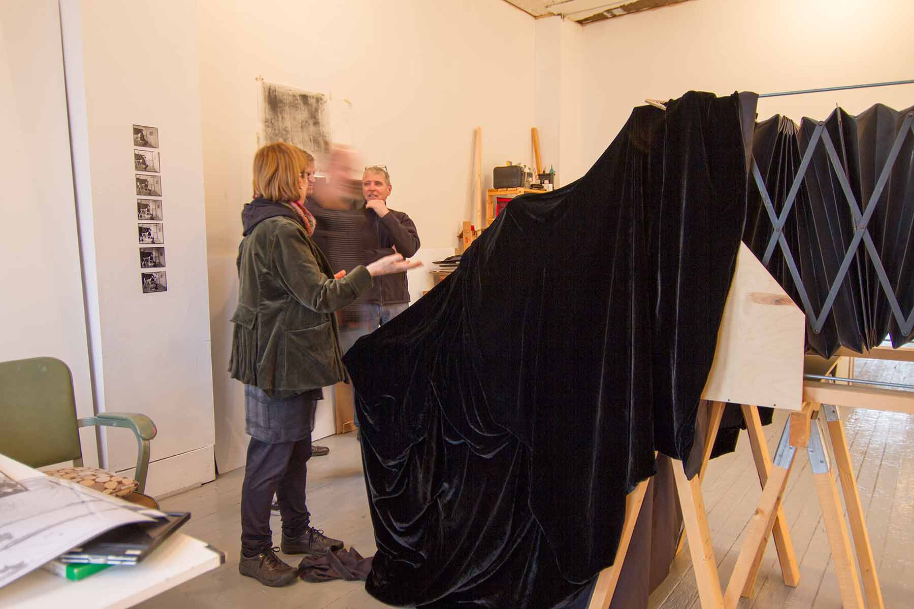 photo showing artist Lynda Gammon and camera wtih group