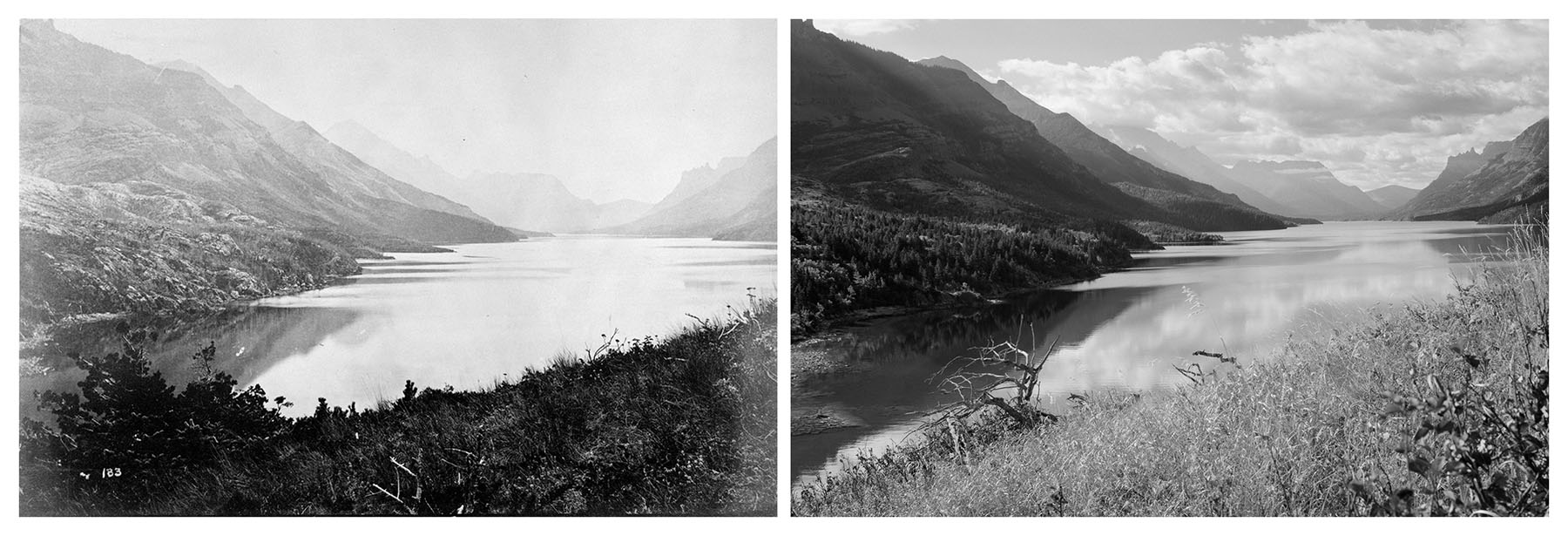 1874 Dawson photograph beside 2007 reenacted photograph from the same location