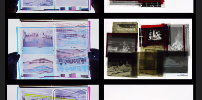 Photograph showing video stills from Anarchival Materiality