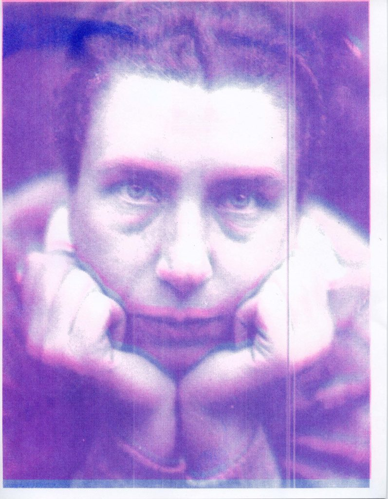 Risograph image remediating Lucia Moholy self-portrait. Trudi Lynn Smith and Kate Hennessy