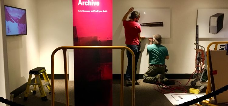 Photograph showing the installation of the exhibition Fugitives in the Archive, at the Royal BC Museum