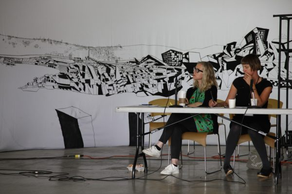 Kate and Trudi at the 2015 ISEA Panel, Terminus: Archives, Ephemera, and Electronic Art. Photograph by Reese Muntean